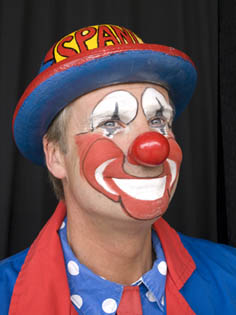 Spangles the Clown circus performer